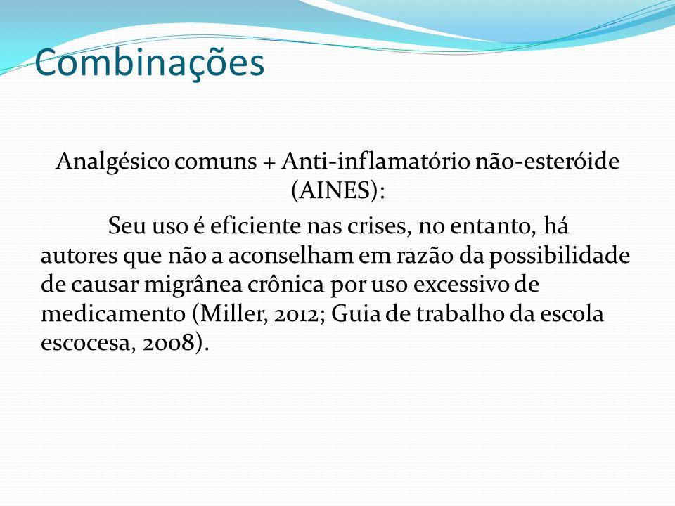 Combinações Analgésico comuns + Anti-inflamatório não-esteróide (AINES): Seu uso é eficiente nas crises, no entanto, há autores que não a aconselham e