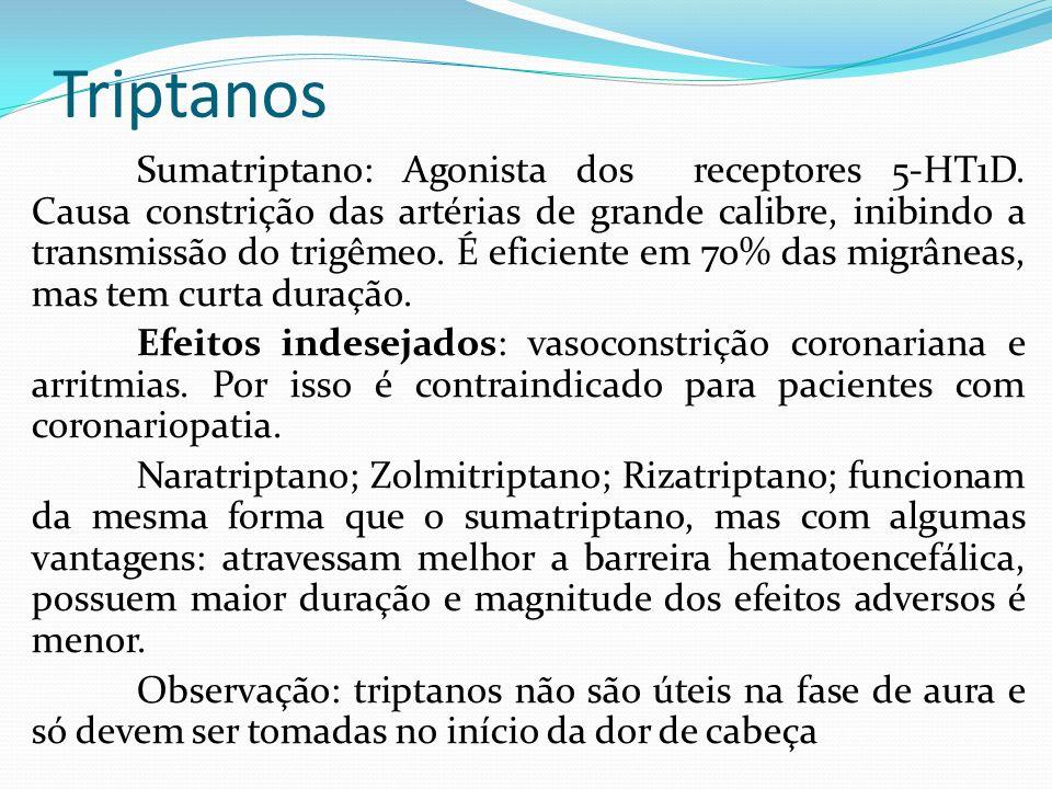 Triptanos Sumatriptano: Agonista dos receptores 5-HT1D. Causa constrição das artérias de grande calibre, inibindo a transmissão do trigêmeo. É eficien