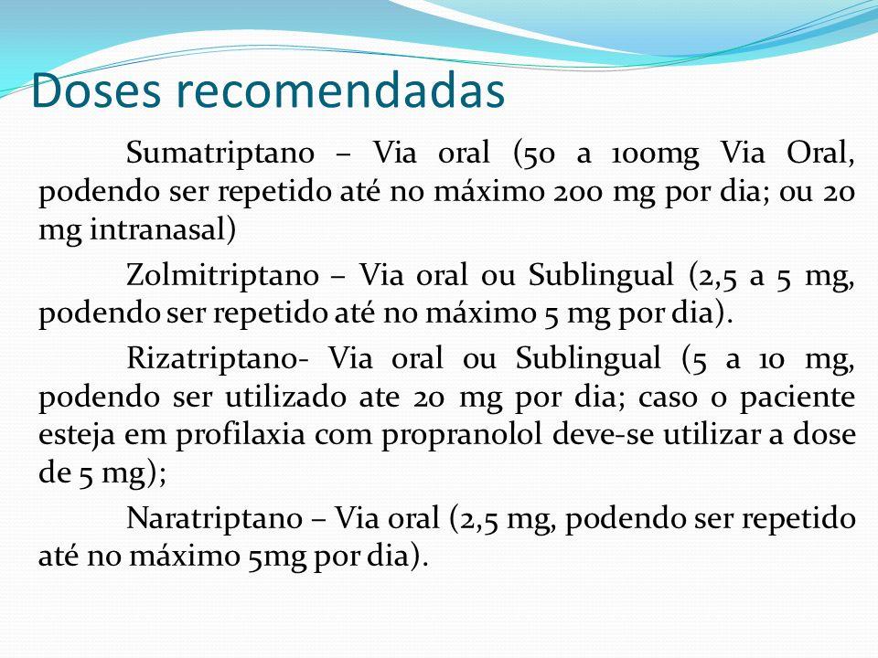 Doses recomendadas Sumatriptano – Via oral (50 a 100mg Via Oral, podendo ser repetido até no máximo 200 mg por dia; ou 20 mg intranasal) Zolmitriptano