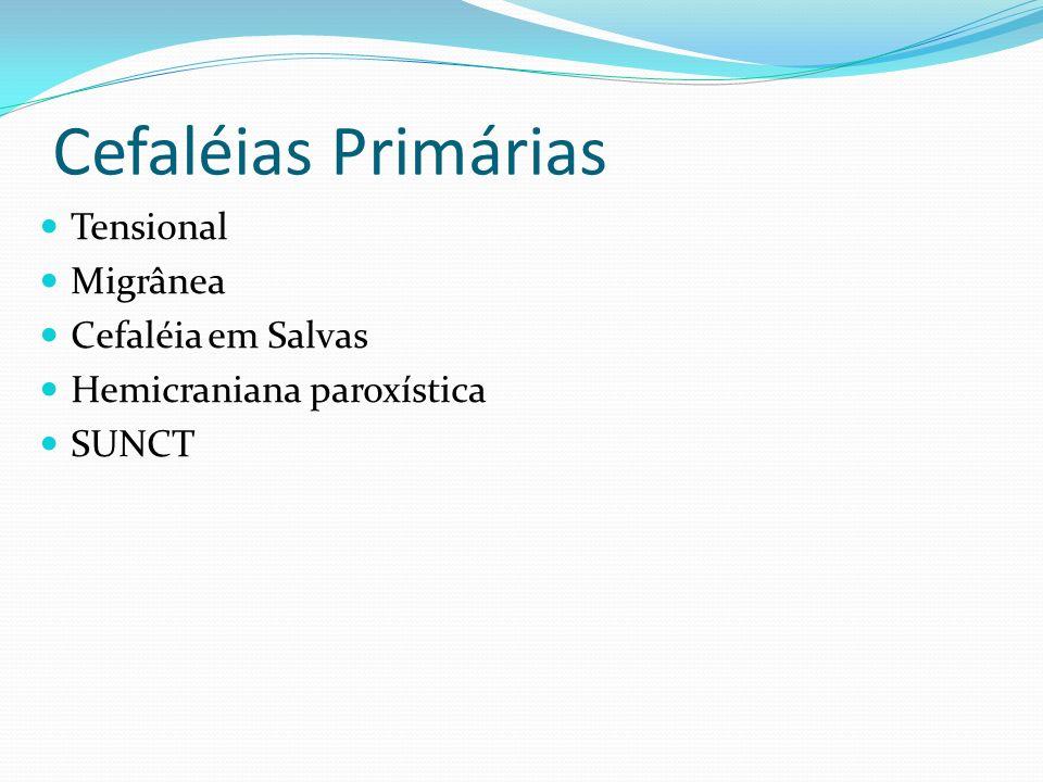 Cefaléias Primárias Tensional Migrânea Cefaléia em Salvas Hemicraniana paroxística SUNCT