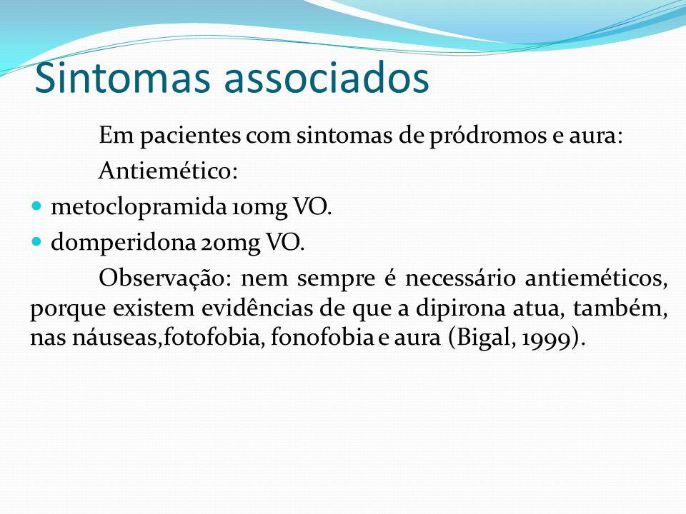 Sintomas associados Em pacientes com sintomas de pródromos e aura: Antiemético: metoclopramida 10mg VO. domperidona 20mg VO. Observação: nem sempre é