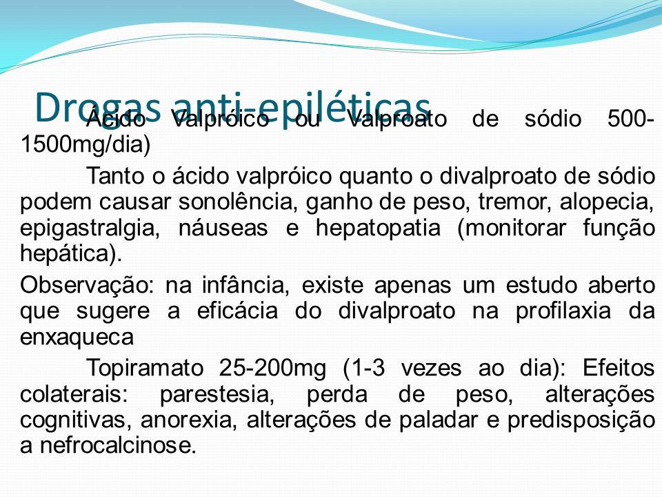 Drogas anti-epiléticas Ácido Valpróico ou Valproato de sódio 500- 1500mg/dia) Tanto o ácido valpróico quanto o divalproato de sódio podem causar sonol