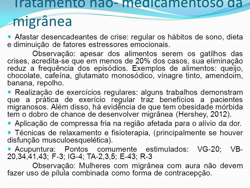 Tratamento não- medicamentoso da migrânea Afastar desencadeantes de crise: regular os hábitos de sono, dieta e diminuição de fatores estressores emoci