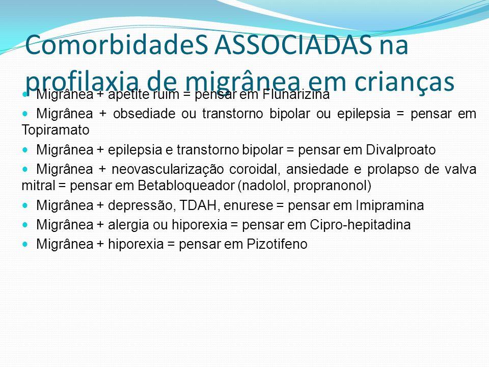 ComorbidadeS ASSOCIADAS na profilaxia de migrânea em crianças Migrânea + apetite ruim = pensar em Flunarizina Migrânea + obsediade ou transtorno bipol