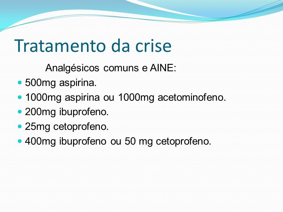 Tratamento da crise Analgésicos comuns e AINE: 500mg aspirina. 1000mg aspirina ou 1000mg acetominofeno. 200mg ibuprofeno. 25mg cetoprofeno. 400mg ibup