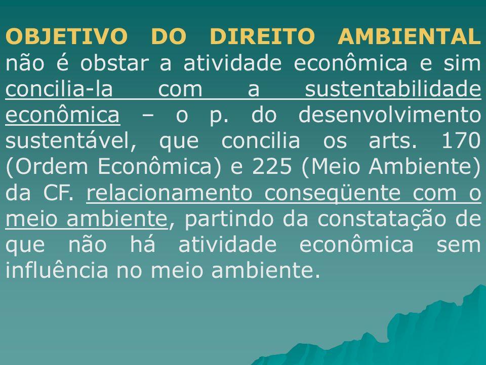 OBJETIVO DO DIREITO AMBIENTAL não é obstar a atividade econômica e sim concilia-la com a sustentabilidade econômica – o p. do desenvolvimento sustentá