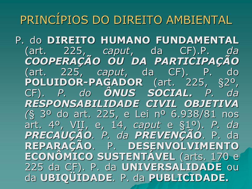PRINCÍPIOS DO DIREITO AMBIENTAL P. do DIREITO HUMANO FUNDAMENTAL (art. 225, caput, da CF).P. da COOPERAÇÃO OU DA PARTICIPAÇÃO (art. 225, caput, da CF)