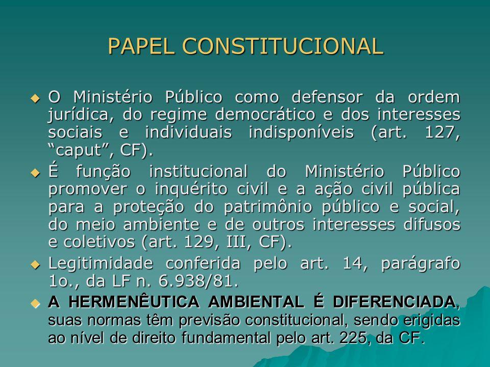 PAPEL CONSTITUCIONAL O Ministério Público como defensor da ordem jurídica, do regime democrático e dos interesses sociais e individuais indisponíveis