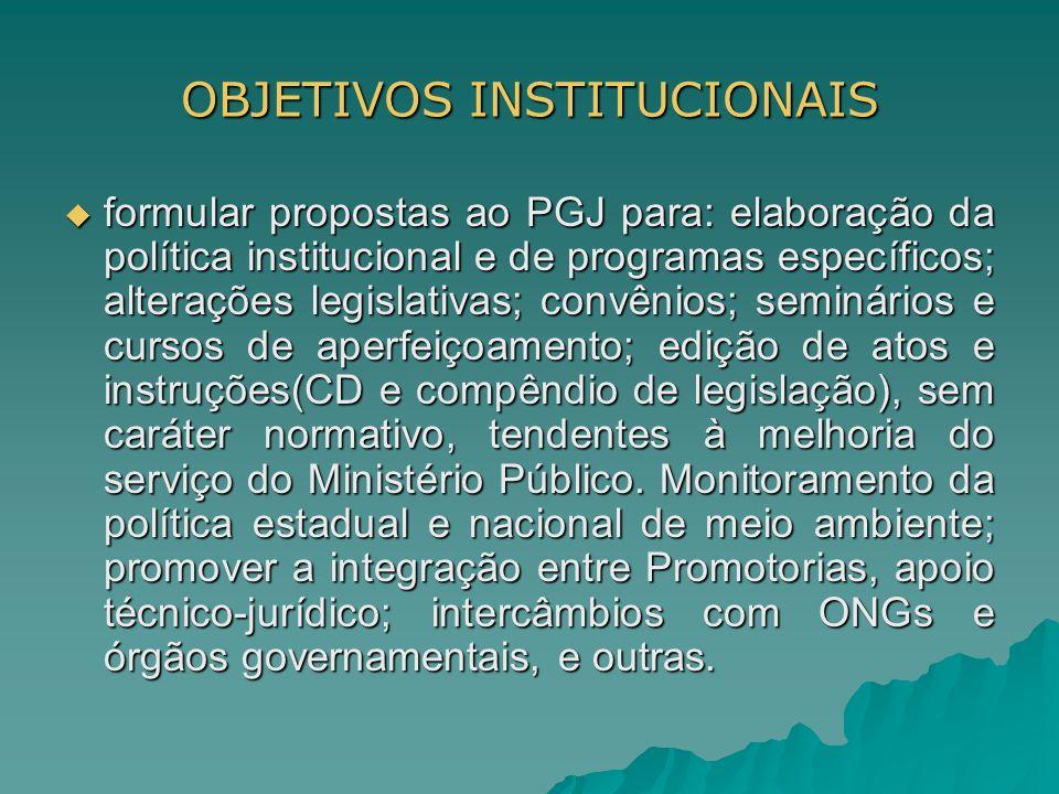 OBJETIVOS INSTITUCIONAIS formular propostas ao PGJ para: elaboração da política institucional e de programas específicos; alterações legislativas; con