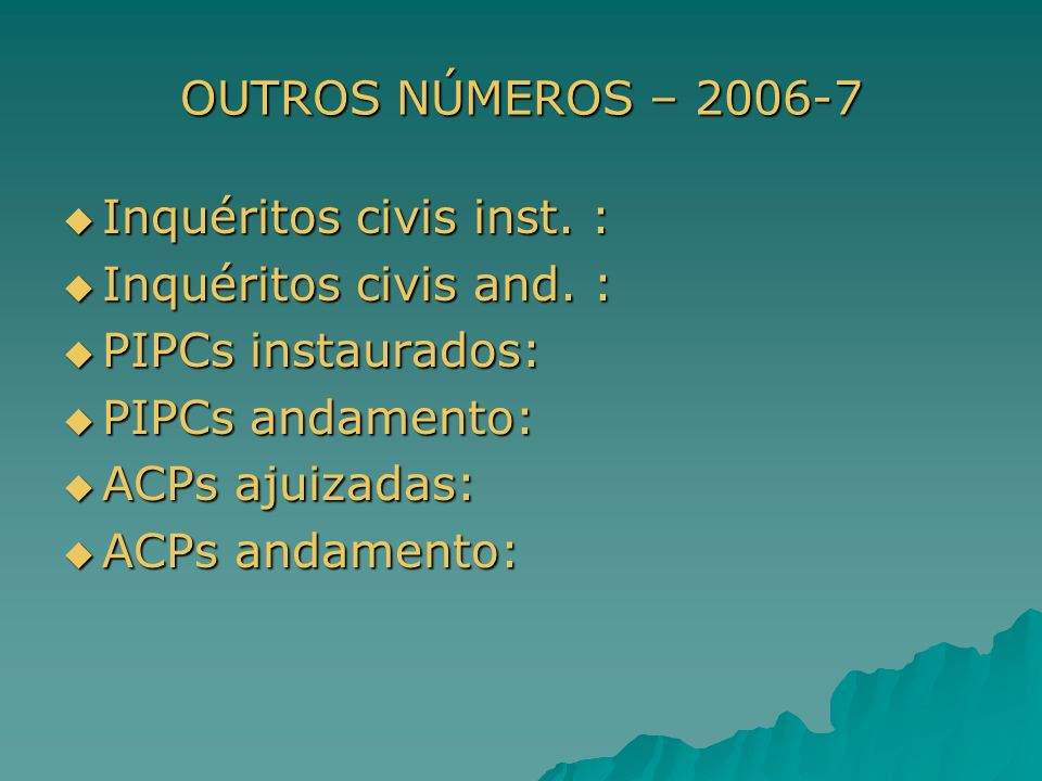 OUTROS NÚMEROS – 2006-7 Inquéritos civis inst. : Inquéritos civis inst. : Inquéritos civis and. : Inquéritos civis and. : PIPCs instaurados: PIPCs ins