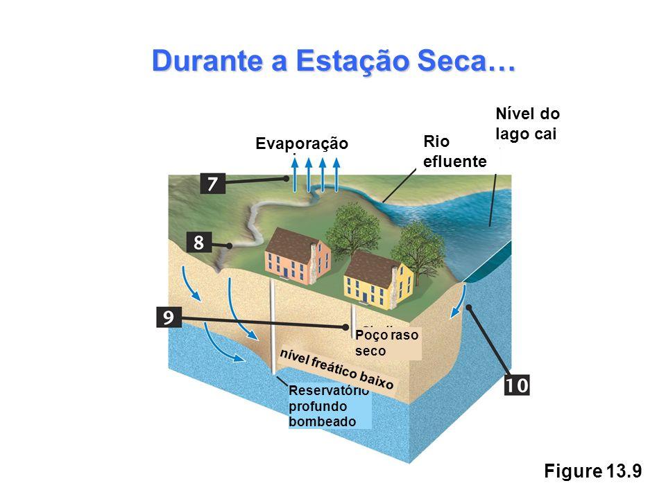 Figure 13.9 Durante a Estação Seca… Evaporação Rio efluente Nível do lago cai Poço raso seco Reservatório profundo bombeado nível freático baixo