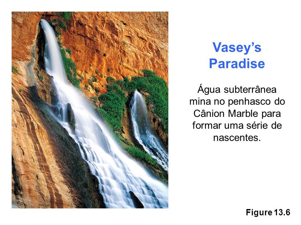 Figure 13.6 Vaseys Paradise Água subterrânea mina no penhasco do Cânion Marble para formar uma série de nascentes.