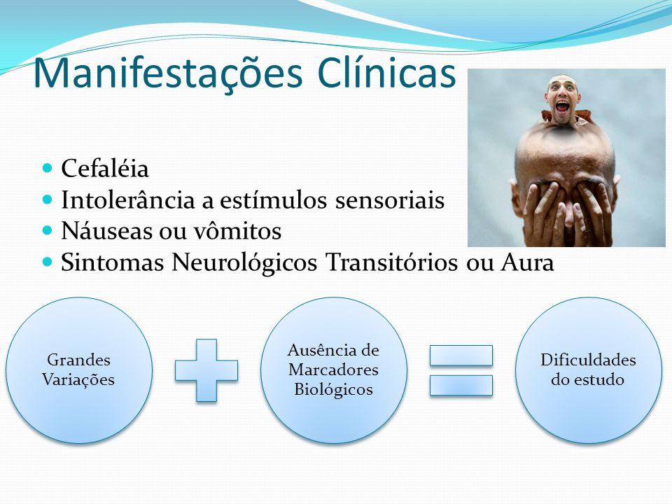 Manifestações Clínicas Cefaléia Intolerância a estímulos sensoriais Náuseas ou vômitos Sintomas Neurológicos Transitórios ou Aura Grandes Variações Au