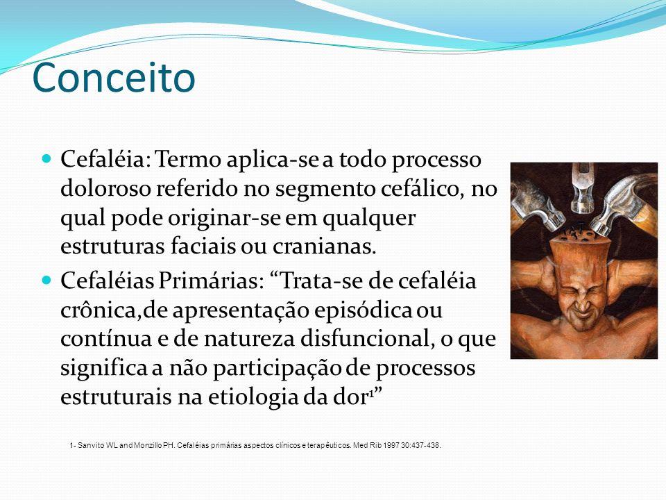Conceito Cefaléia: Termo aplica-se a todo processo doloroso referido no segmento cefálico, no qual pode originar-se em qualquer estruturas faciais ou
