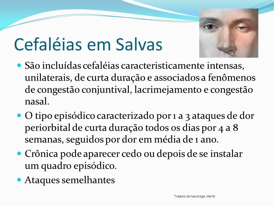 Cefaléias em Salvas São incluídas cefaléias caracteristicamente intensas, unilaterais, de curta duração e associados a fenômenos de congestão conjunti