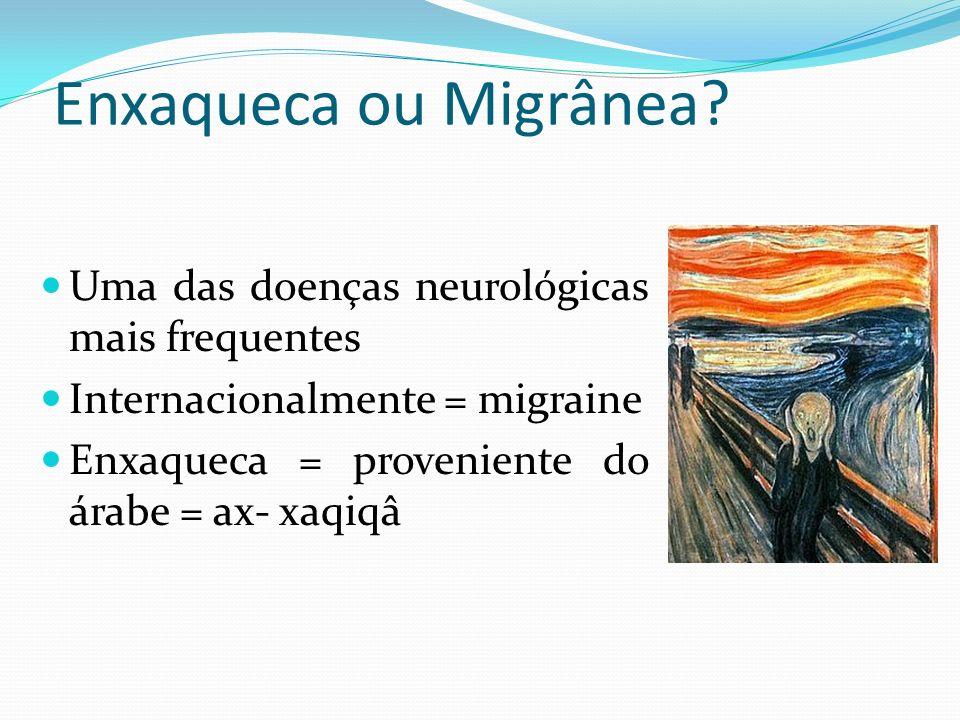 Enxaqueca ou Migrânea? Uma das doenças neurológicas mais frequentes Internacionalmente = migraine Enxaqueca = proveniente do árabe = ax- xaqiqâ