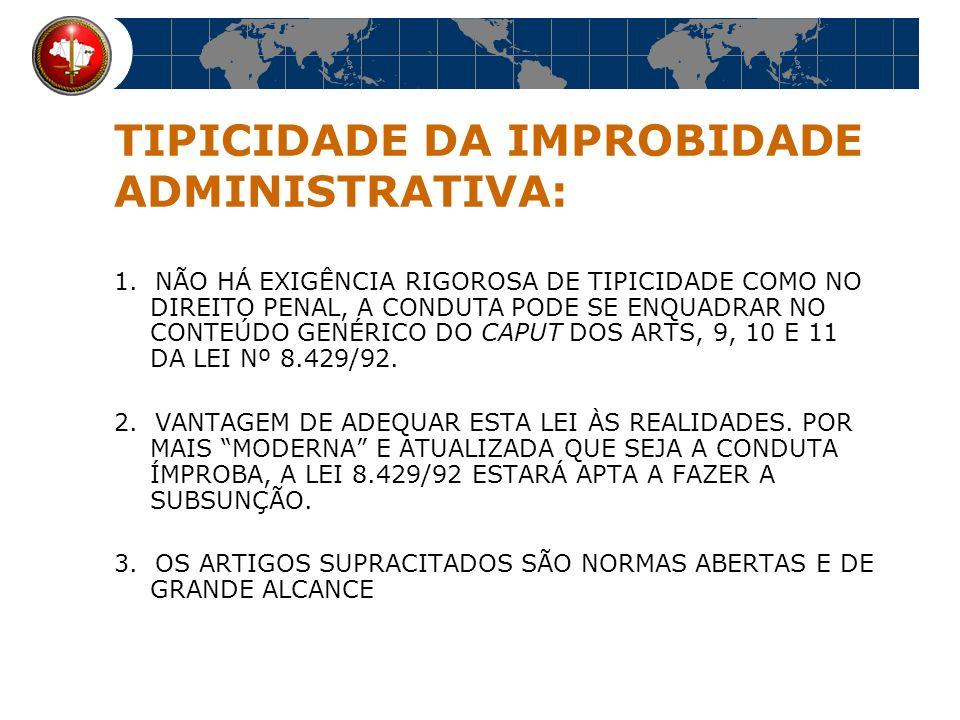 ESPÉCIES A LEI Nº 8.429/92 SEPARA A IMPROBIDADE EM TRÊS CATEGORIAS: 1.ENRIQUECIMENTO ILÍCITO, DO AGENTE OU DE TERCEIROS 2.PREJUÍZO AO ERÁRIO, E, 3.OFENSA AOS PRINCÍPIOS DA ADMINISTRAÇÃO PÚBLICA, DESPRESTÍGIO DOS DEVERES A TODOS DIRIGIDOS
