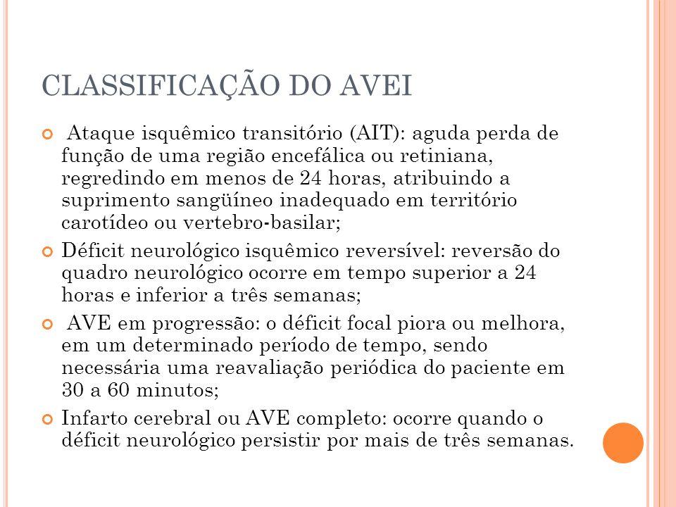CLASSIFICAÇÃO DO AVEI Ataque isquêmico transitório (AIT): aguda perda de função de uma região encefálica ou retiniana, regredindo em menos de 24 horas
