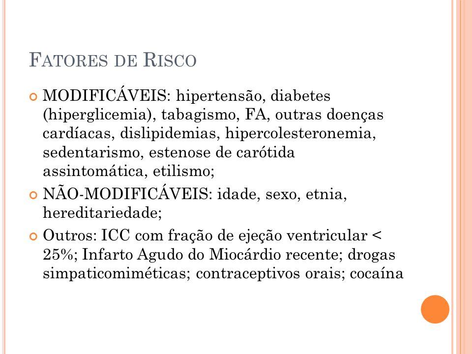 F ATORES DE R ISCO MODIFICÁVEIS: hipertensão, diabetes (hiperglicemia), tabagismo, FA, outras doenças cardíacas, dislipidemias, hipercolesteronemia, s