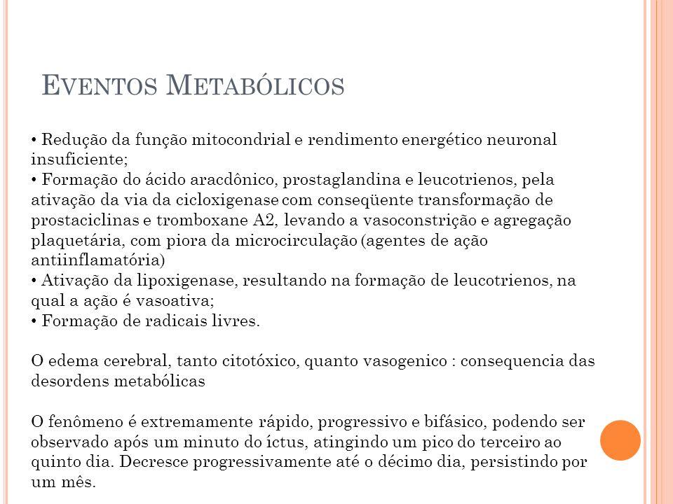 E VENTOS M ETABÓLICOS Redução da função mitocondrial e rendimento energético neuronal insuficiente; Formação do ácido aracdônico, prostaglandina e leu
