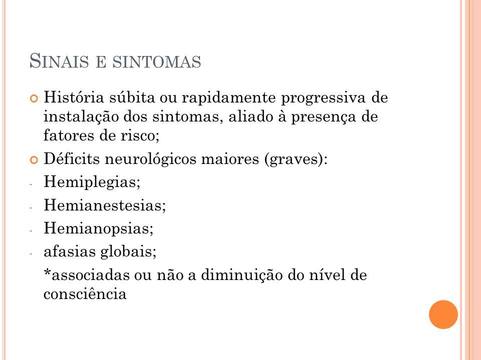 P RINCIPAIS A RTÉRIAS ACOMETIDAS E SINTOMAS E SINAIS A Carótida Interna: cegueira ipsilateral e síndrome da ACM; A Cerebral Média: hemiparesia contralateral, hemihipoestesia (MMII<MMSS), afasia, hemianopsia homônima; A Cerebral Anterior: hemiparesia contralateral, hemihipoestesia (MMII>MMSS); A Vetebral/A Cerebelar Póstero-Inferior: hipoestesia facial ipsilateral, disfagia, ataxia, nistagmo, perda contralateral da sensibilidade térmica/dolorosa, síndrome Horner