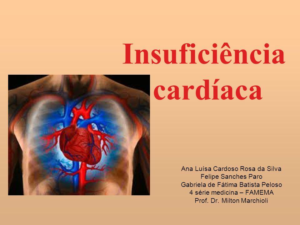 Insuficiência cardíaca Ana Luísa Cardoso Rosa da Silva Felipe Sanches Paro Gabriela de Fátima Batista Peloso 4 série medicina – FAMEMA Prof. Dr. Milto