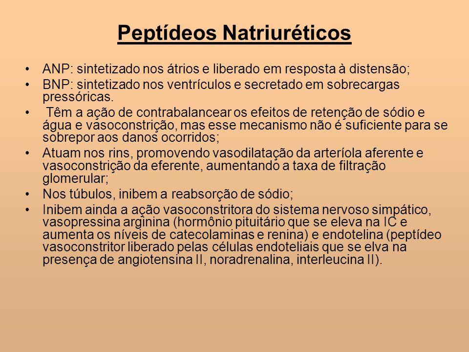 Peptídeos Natriuréticos ANP: sintetizado nos átrios e liberado em resposta à distensão; BNP: sintetizado nos ventrículos e secretado em sobrecargas pr