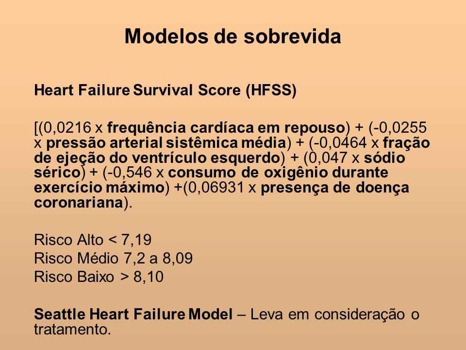 Modelos de sobrevida Heart Failure Survival Score (HFSS) [(0,0216 x frequência cardíaca em repouso) + (-0,0255 x pressão arterial sistêmica média) + (