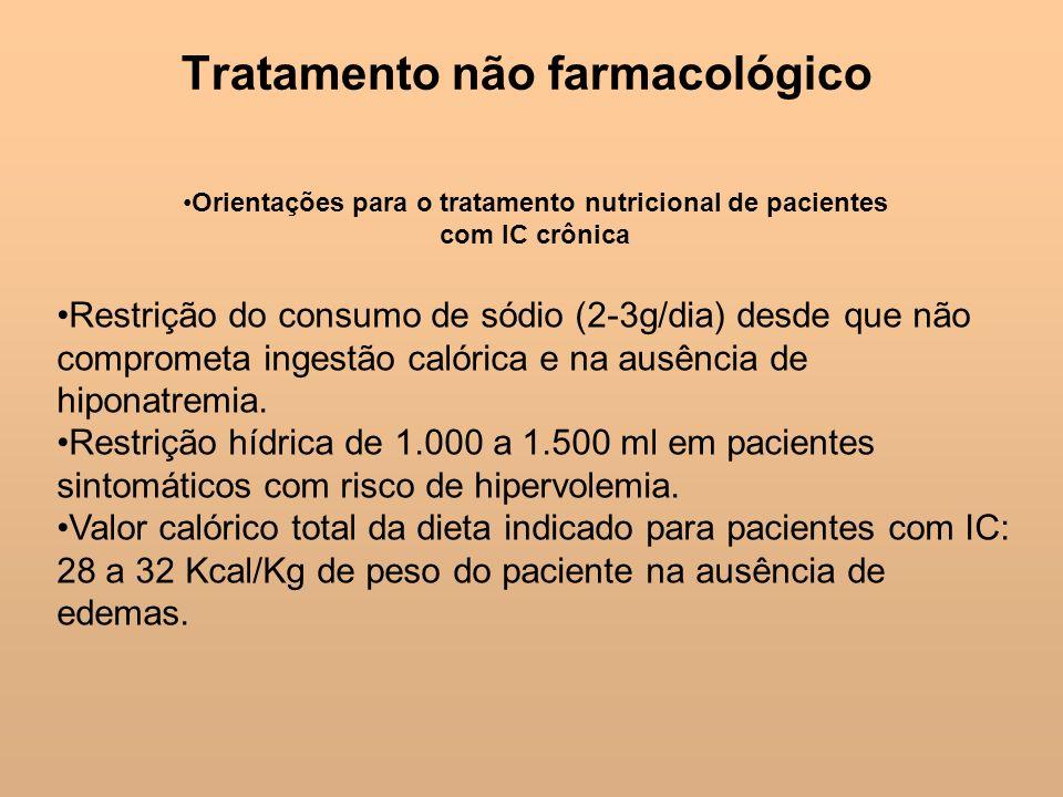 Tratamento não farmacológico Orientações para o tratamento nutricional de pacientes com IC crônica Restrição do consumo de sódio (2-3g/dia) desde que