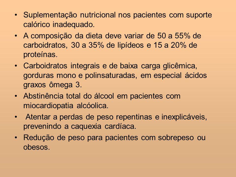 Suplementação nutricional nos pacientes com suporte calórico inadequado. A composição da dieta deve variar de 50 a 55% de carboidratos, 30 a 35% de li