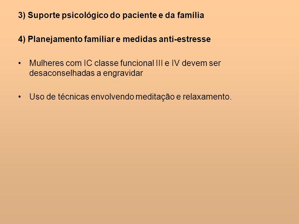 3) Suporte psicológico do paciente e da família 4) Planejamento familiar e medidas anti-estresse Mulheres com IC classe funcional III e IV devem ser d
