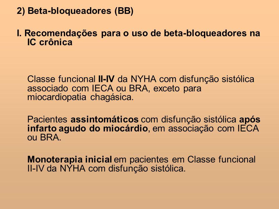 2) Beta-bloqueadores (BB) I. Recomendações para o uso de beta-bloqueadores na IC crônica Classe funcional II-IV da NYHA com disfunção sistólica associ