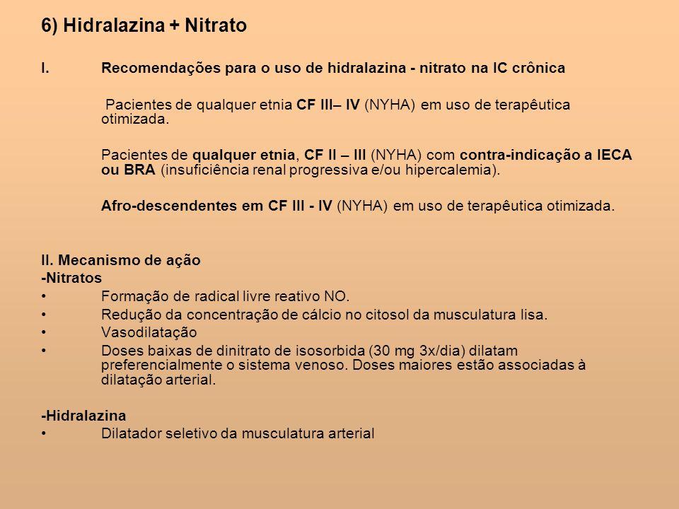 6) Hidralazina + Nitrato I.Recomendações para o uso de hidralazina - nitrato na IC crônica Pacientes de qualquer etnia CF III– IV (NYHA) em uso de ter