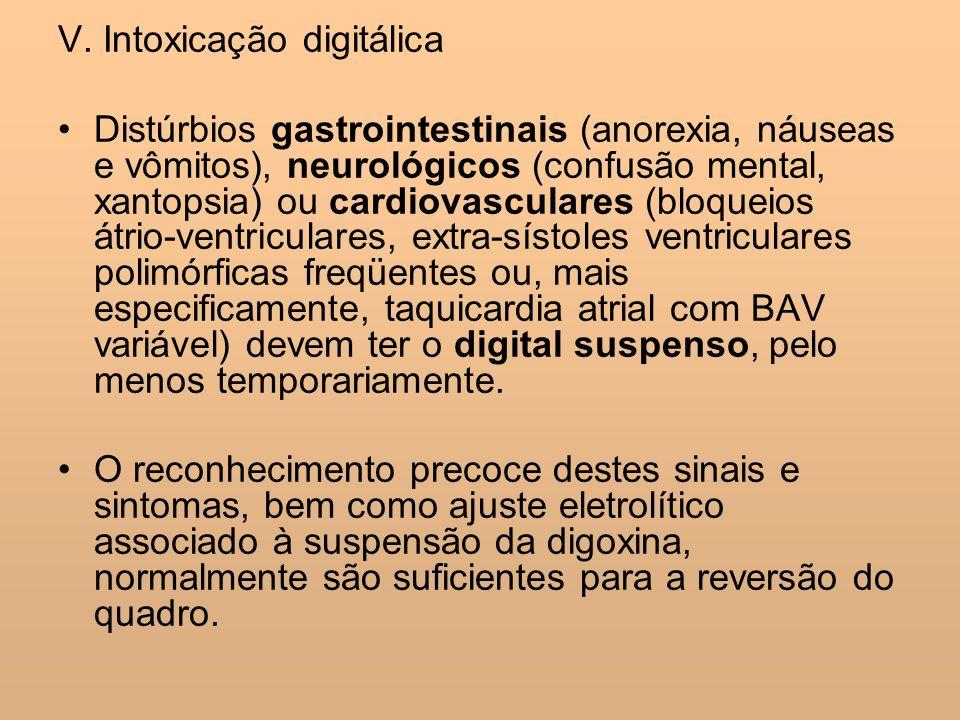 V. Intoxicação digitálica Distúrbios gastrointestinais (anorexia, náuseas e vômitos), neurológicos (confusão mental, xantopsia) ou cardiovasculares (b