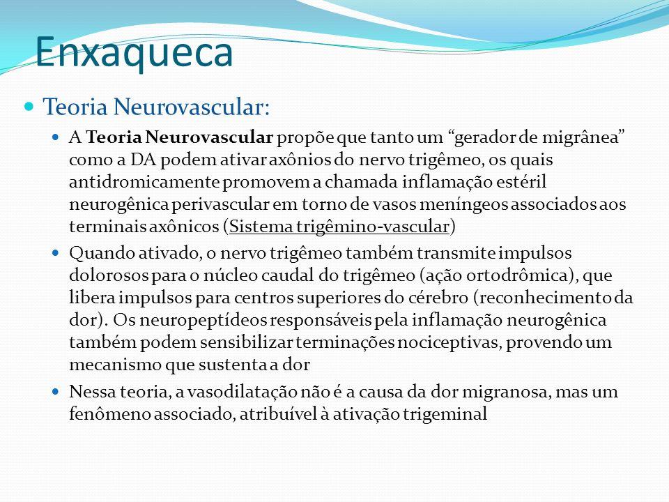 Enxaqueca Teoria Neurovascular: A Teoria Neurovascular propõe que tanto um gerador de migrânea como a DA podem ativar axônios do nervo trigêmeo, os qu