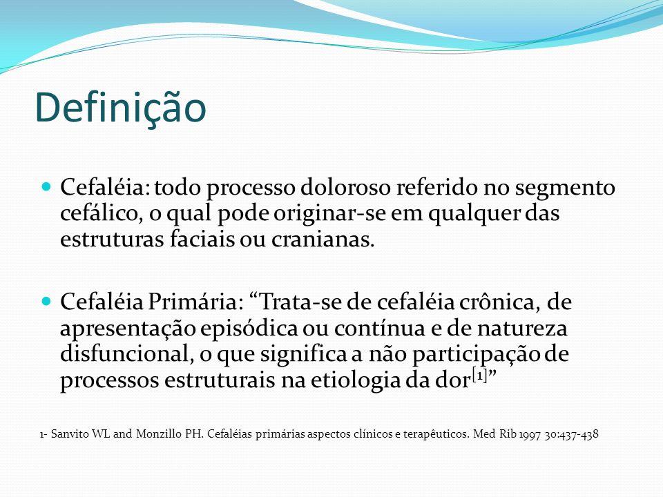 Classificação Segundo a Etiologia: Cefaléias primárias: são as que ocorrem sem etiologia demonstrável pelos exames clínicos ou laboratoriais usuais.