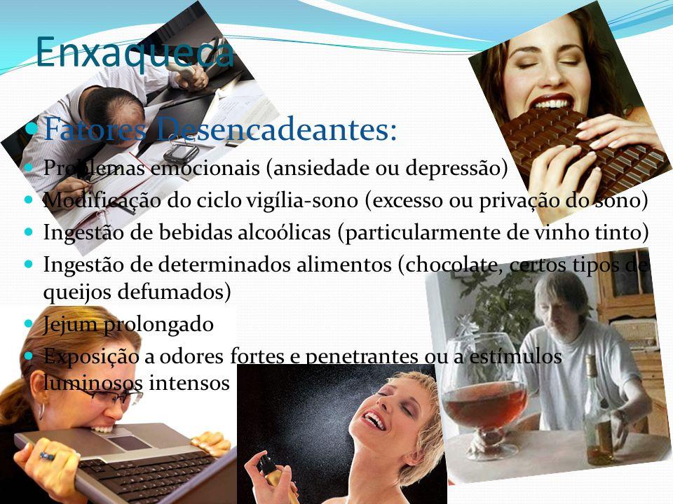 Enxaqueca Fatores Desencadeantes: Problemas emocionais (ansiedade ou depressão) Modificação do ciclo vigília-sono (excesso ou privação do sono) Ingest