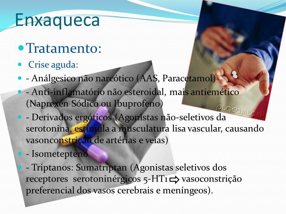 Enxaqueca Tratamento: Crise aguda: - Análgesico não narcótico (AAS, Paracetamol) - Anti-inflamatório não esteroidal, mais antiemético (Naproxen Sódico