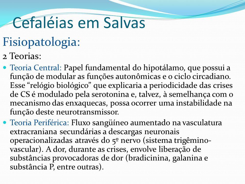 Cefaléias em Salvas Fisiopatologia: 2 Teorias: Teoria Central: Papel fundamental do hipotálamo, que possui a função de modular as funções autonômicas