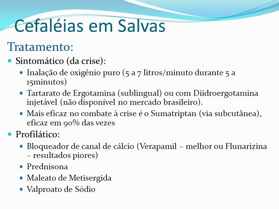 Cefaléias em Salvas Tratamento: Sintomático (da crise): Inalação de oxigênio puro (5 a 7 litros/minuto durante 5 a 15minutos) Tartarato de Ergotamina