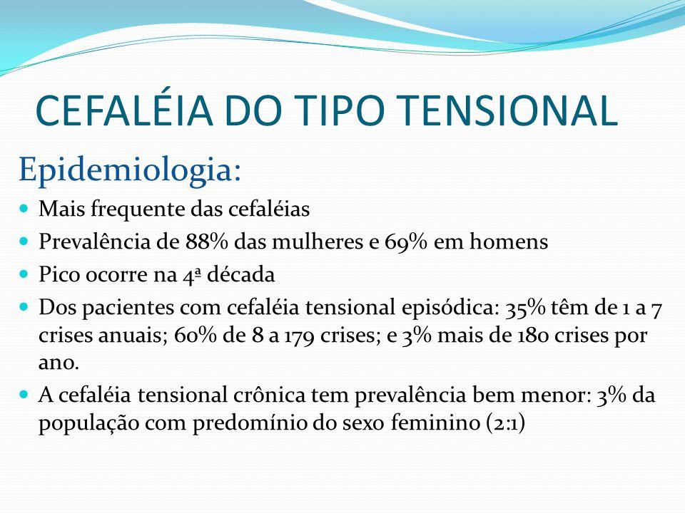CEFALÉIA DO TIPO TENSIONAL Epidemiologia: Mais frequente das cefaléias Prevalência de 88% das mulheres e 69% em homens Pico ocorre na 4ª década Dos pa