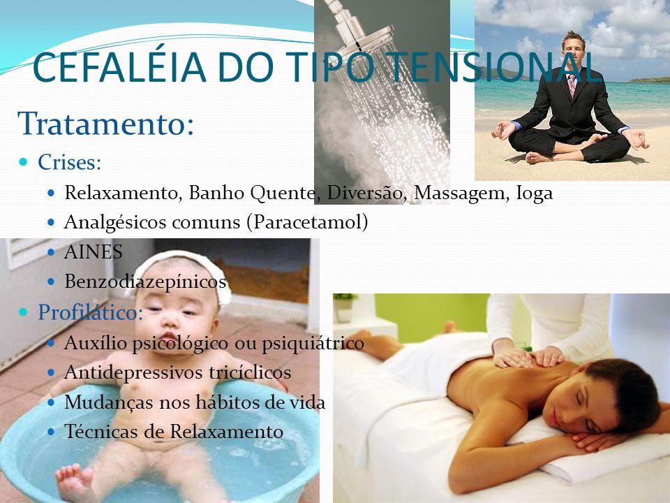CEFALÉIA DO TIPO TENSIONAL Tratamento: Crises: Relaxamento, Banho Quente, Diversão, Massagem, Ioga Analgésicos comuns (Paracetamol) AINES Benzodiazepí