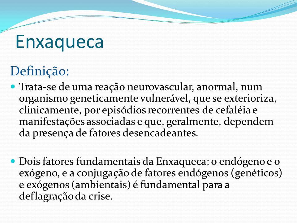 Enxaqueca Definição: Trata-se de uma reação neurovascular, anormal, num organismo geneticamente vulnerável, que se exterioriza, clinicamente, por epis