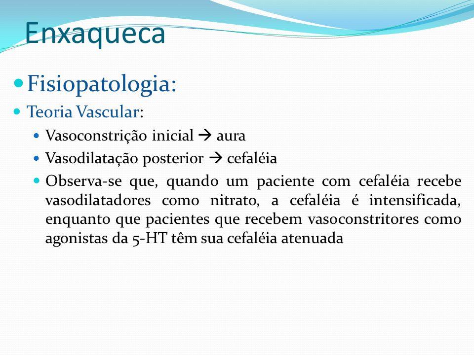 Enxaqueca Fisiopatologia: Teoria Vascular: Vasoconstrição inicial aura Vasodilatação posterior cefaléia Observa-se que, quando um paciente com cefaléi