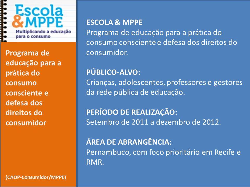 ESCOLA & MPPE Programa de educação para a prática do consumo consciente e defesa dos direitos do consumidor. PÚBLICO-ALVO: Crianças, adolescentes, pro