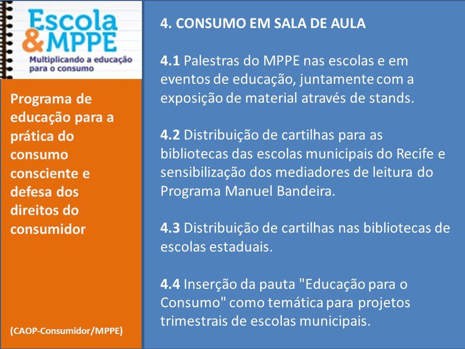 4. CONSUMO EM SALA DE AULA 4.1 Palestras do MPPE nas escolas e em eventos de educação, juntamente com a exposição de material através de stands. 4.2 D