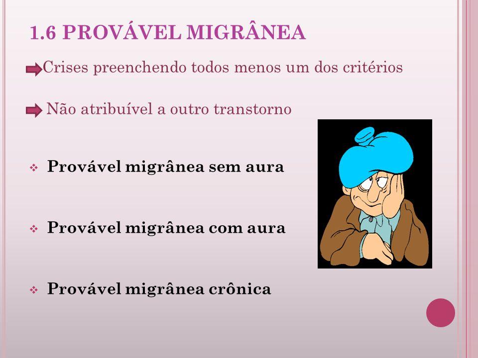 1.6 PROVÁVEL MIGRÂNEA Crises preenchendo todos menos um dos critérios Não atribuível a outro transtorno Provável migrânea sem aura Provável migrânea c