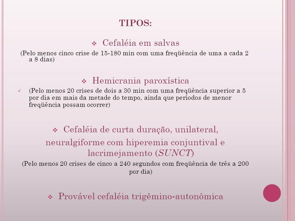 TIPOS: Cefaléia em salvas (Pelo menos cinco crise de 15-180 min com uma freqüência de uma a cada 2 a 8 dias) Hemicrania paroxística (Pelo menos 20 cri