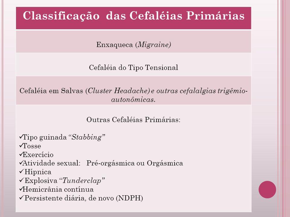 Classificação das Cefaléias Primárias Enxaqueca ( Migraine) Cefaléia do Tipo Tensional Cefaléia em Salvas ( Cluster Headache) e outras cefalalgias tri