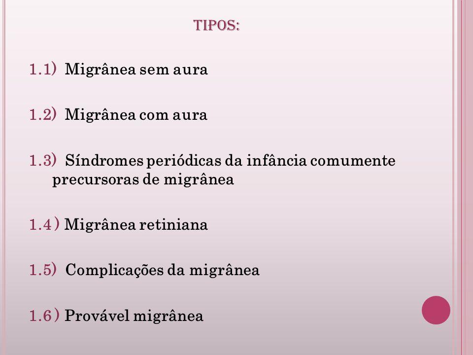 TIPOS: 1.1) Migrânea sem aura 1.2) Migrânea com aura 1.3) Síndromes periódicas da infância comumente precursoras de migrânea 1.4 ) Migrânea retiniana